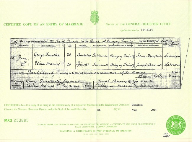 George and Eliza (Barnes) Freestone Marriage Certificate