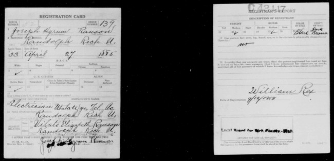"""United States World War I Draft Registration Cards, 1917-1918,"" digital images, Family Search (FamilySearch.org : downloaded 28 July 2014), Joseph Hyrum Ranson, draft registration; citing GS Film Number: 001983887, Digital Folder Number: 005243490, Image Number 03121."