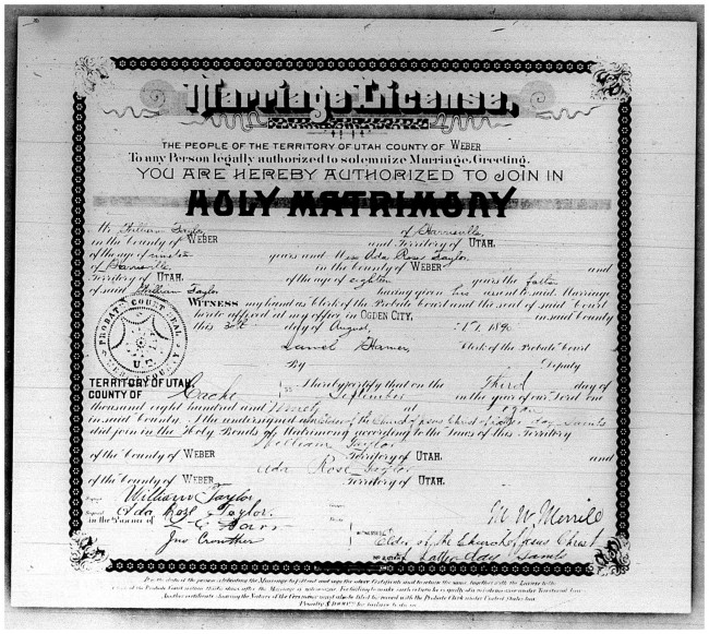 "Weber County, Utah, ""Marriage Licenses 1887-1946"": certificate no. 493, issued 30 Aug 1890, William Taylor and Ada Rose Taylor, certified 3 Sept 1890; FHL microfilm 1324660."