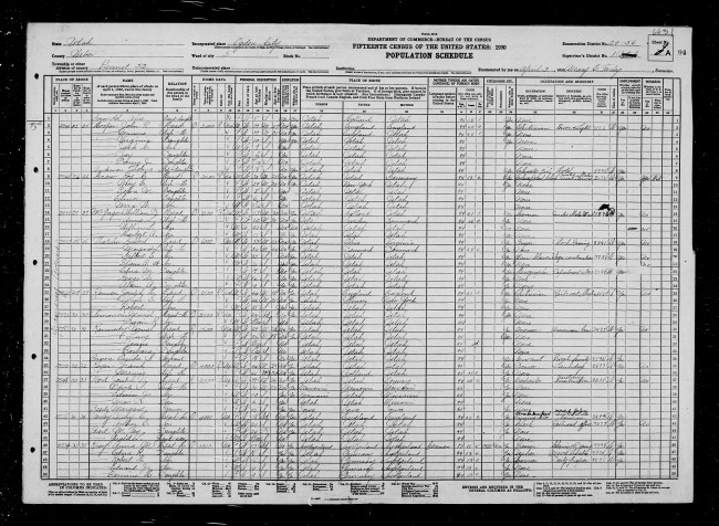 1930 U.S. Census, Ogden City, population schedule, Ogden City, Precinct 52, 5th Ward, enumeration district (ED) ED 29-56, SD 1, sheet 1A, household 29, family 29, Joseph H. Ranson household; digital images, Family Search (familysearch.org : downloaded 28 July 2014); NARA.